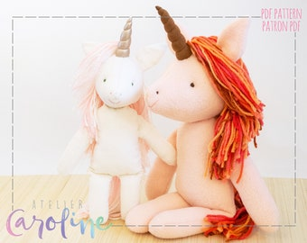 Downloadable Sewing pattern and tutorial, stuffed toy unicorn, small and larger animal, DIY Animal Rag Doll