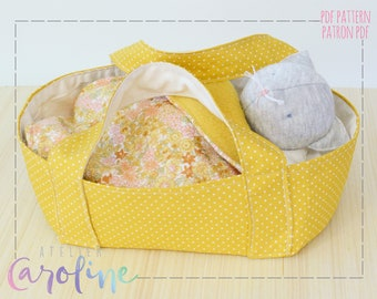 Downloadable Sewing pattern and tutorial, basket, mattress, pillow and blanket for stuffed toy, bassinet bed