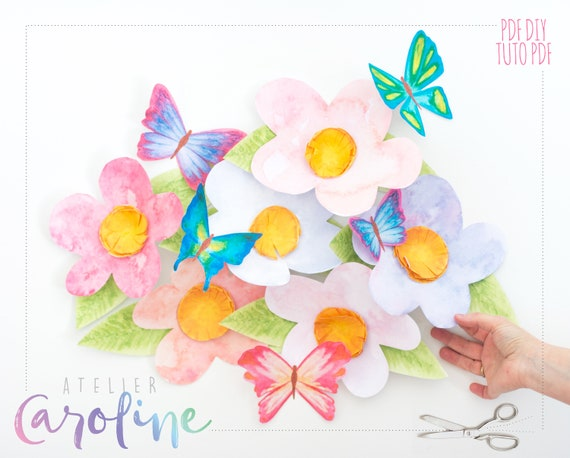 Wall Paper Flowers And Butterflies Boho Wall Art Watercolor Etsy