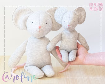 Downloadable Sewing pattern and tutorial, small and large stuffed toy mouse plush, DIY Animal Stuffed Rag Doll