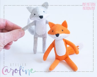 Downloadable Sewing pattern and tutorial, stuffed miniature fox and wolf plush, DIY Animal Stuffed Rag Doll