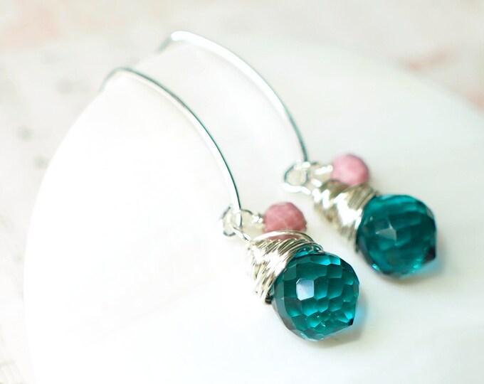 Teal Quartz x Rhodchrosite Earrings // Precious & Sweet // 925 Sterling Silver // Wirewrapped
