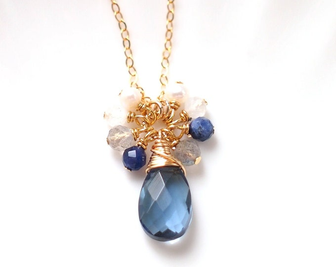 London Blue Quartz Necklace // Gem Pendant // Gem Cluster // 14K Gold-filled // Wire-wrapped // Elegant & Classy