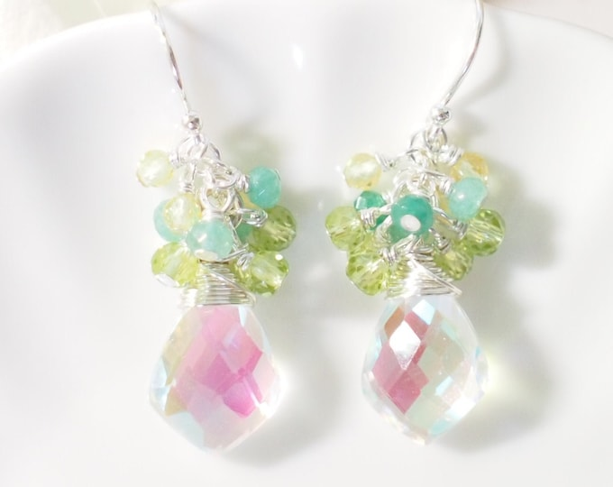 Rainbow Quartz Earrings // Gem Cluster // Peridot x Chalcedony x Yellow Zircon // Sparkly & Sweet // 925 Sterling Silver