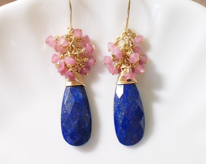 Lapis Lazuli x Pink Tourmaline Earrings // Gem Cluster // 14K Gold-filled // Wire-wrapped // Cherry Blossom