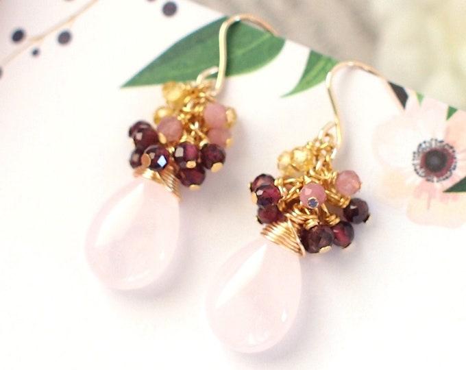 Rose Quartz Earrings // Gems Cluster // 14K Gold-filled // Wire-wrapped // Elegant & Classy