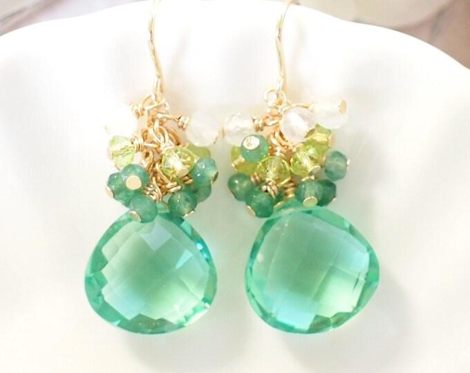 Green Quartz Earrings // Gems Cluster // Chalcedony x Peridot x Moonstones // 14K Gold-filled // Elegant & Chic