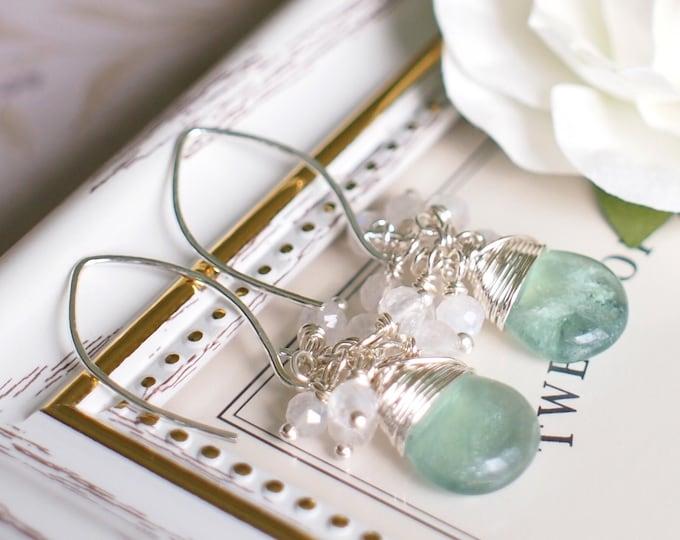 Green Fluorite x Moonstones Earrings // Graceful & Lovely // Gem Cluster // 925 Sterling Silver // Wirewrapped