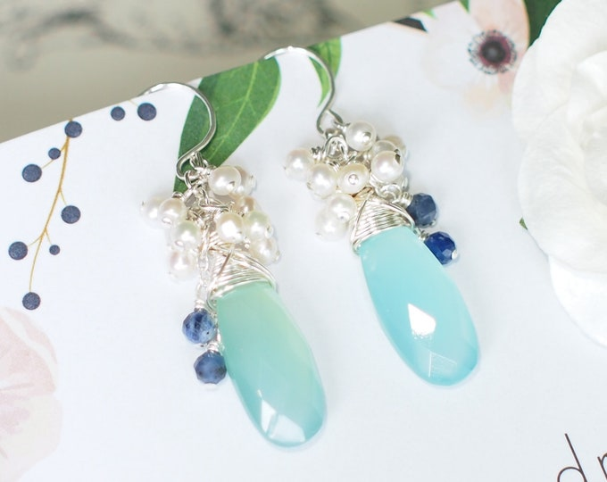 Aqua Chalcedony Earrings // Pearl Cluster // 925 Sterling Silver // Wire-wrapped // Chic & Sweet