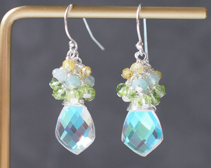 Rainbow Quartz Earrings // Gem Cluster // Peridot x Chalcedony x Yellow Zircon // Sparkly & Sweet // 925 Sterling Silver