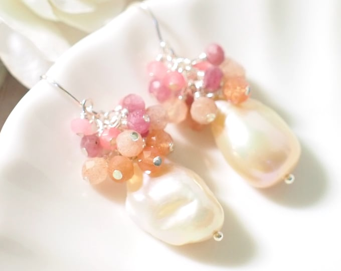 Baroque Pearl Earrings // Flameball Pearls// Gems Cluster // Sunstones x Tourmaline x Chalcedony // 925 Sterling Silver // Sweet & Romantic