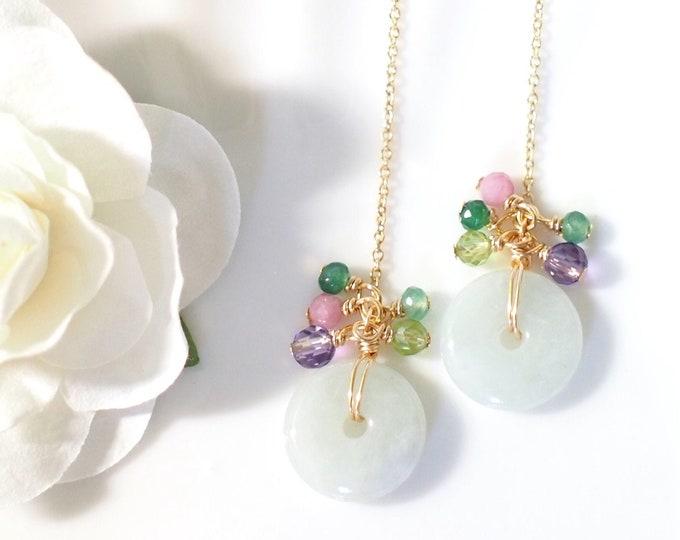 Burmese Jade Threader Earrings // Gem Cluster // Amethyst x Tourmaline x Peridot x Chalcedony // 14K Gold-filled // Dainty & Sweet