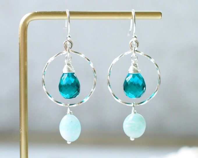 Teal Quartz x Amazonite Earrings // Striking & Chic // 925 Sterling Silver // Wirewrapped