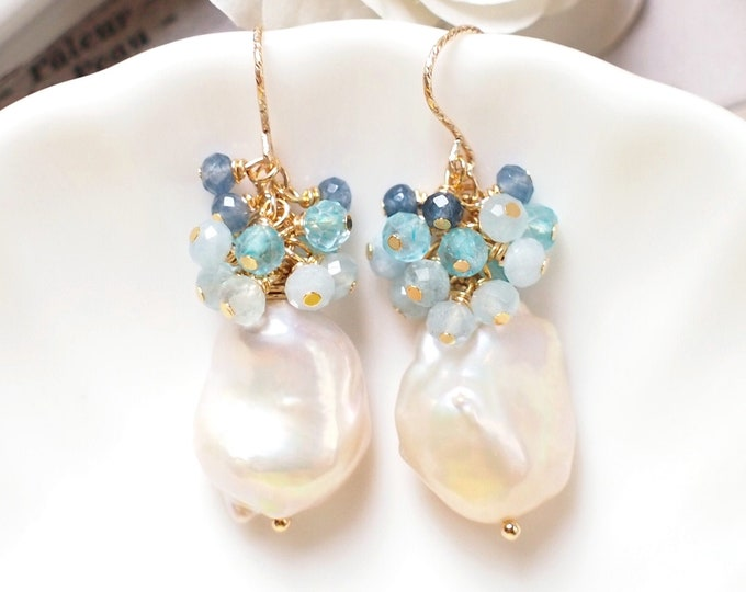 Baroque Pearl Earrings // Gems Cluster // Aquamarine x Topaz x Chalcedony // 14K Gold-filled // Elegant & Timeless