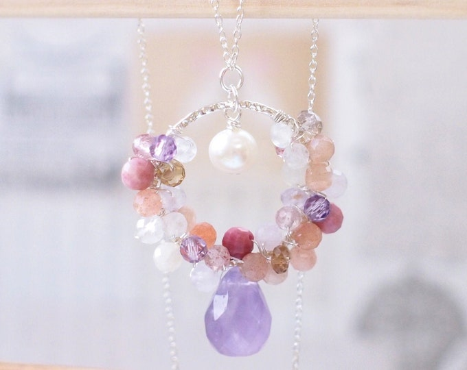 Amethyst x Gems x Pearl Pendant // Long Necklace // One of a Kind // Wire-wrapped // 925 Sterling Silver