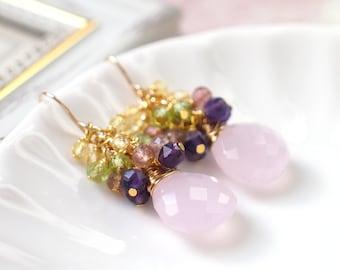 Pink Quartz Earrings // Gems Cluster // Peridot x Amethyst x Strawberry Quartz x Citrine Quartz // 14K Gold-filled // Sweet & Stylish