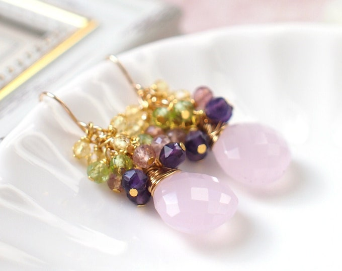 Rose Quartz Earrings // Gems Cluster // Peridot x Amethyst x Strawberry Quartz x Citrine Quartz // 14K Gold-filled // Sweet & Stylish