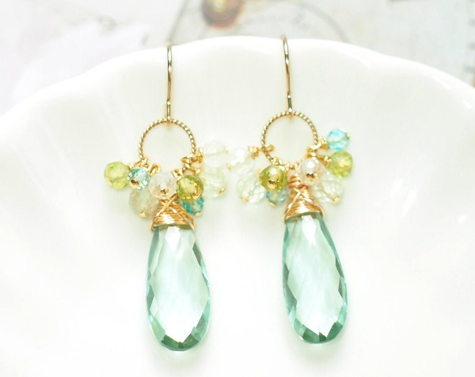 Mint Quartz Earrings // Assorted Gems Cluster // 14K Gold-filled // Wire-wrapped // Refreshing & Classy