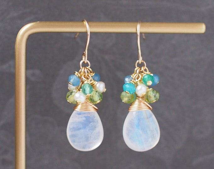 Blue Moonstones Earrings // Assorted Gems Cluster // 14K Gold-filled // Wire-wrapped // Precious & Sweet