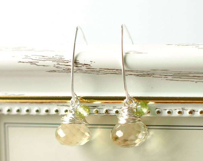 Citrine Quartz x Peridot Earrings // Simple & Sweet // 925 Sterling Silver // Wirewrapped