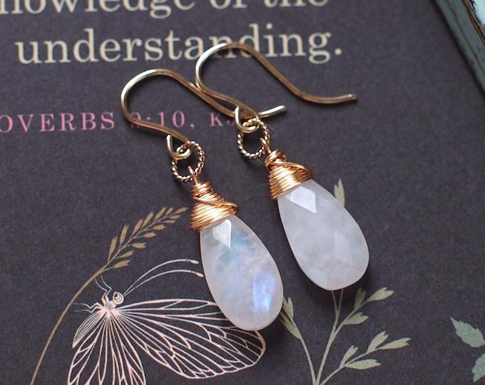 Blue Moonstones Earrings // Rainbow Moonstones // 14K Gold-filled // Wire-wrapped // Simple & Elegant
