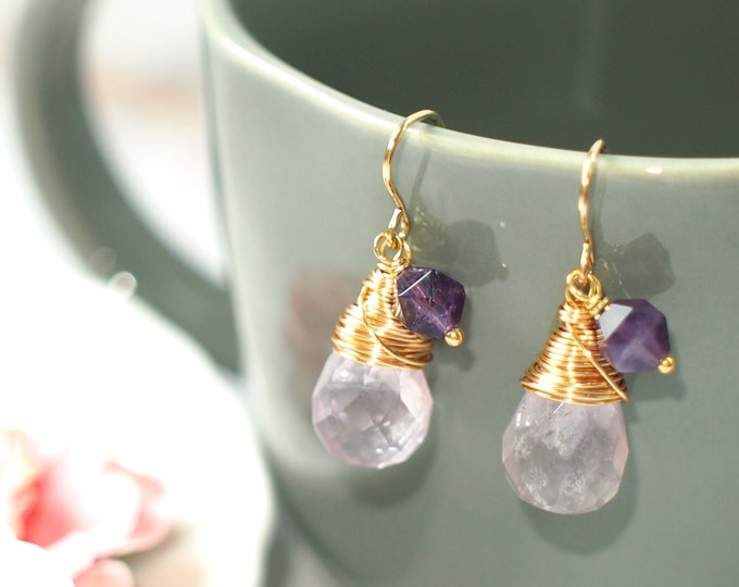 Amethyst Earrings // Amethyst Charm // Precious & Sweet // 14K Gold-filled // Wirewrapped