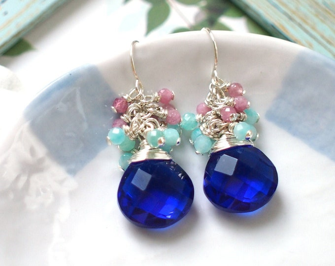 Sapphire Blue Quartz Earrings // Gems Cluster // Amazonite x Pink Tourmaline // 925 Sterling Silver // Striking & Sassy