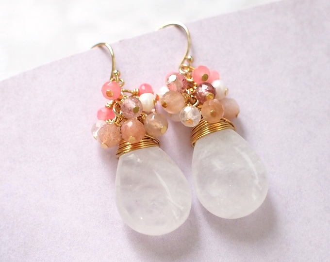 White Quartz Earrings // Assorted Gems Cluster // 14K Gold-filled // Wire-wrapped // Romantic & Elegant