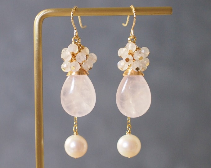 Rose Quartz x Fresh Water Pearl Earrings // Gem Cluster // Moonstones // 14K Gold-filled // Wire-wrapped // Elegant & Sweet