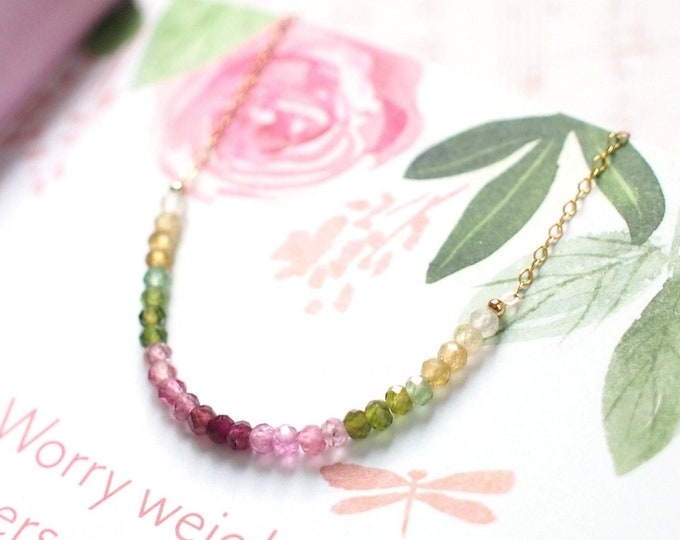 Watermelon Tourmaline Rondelle Necklace // 14K Gold-filled // Dainty & Sweet