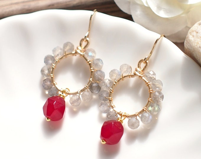 Red Carnelian x Labradorite Earrings // Elegant & Chic // 14K Gold-filled // Feminine