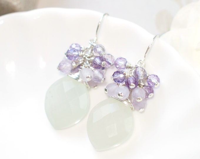 White Moonstone Earrings // Gems Cluster // Amethyst // 925 Sterling Silver // Wire-wrapped // Sophisticated & Sweet