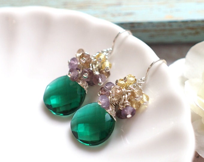 Emerald Green Quartz Earrings // Gems Cluster // Amethyst x Citrine Quartz // 925 Sterling Silver // Elegant & Chic