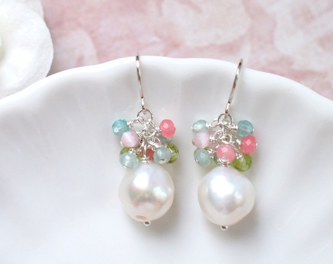 Baroque Pearl Earrings // Assorted Gems Cluster // Floral Theme // 925 Sterling Silver // Wire-wrapped // Graceful & Sweet