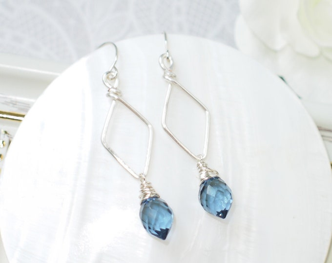 London Blue Quartz Earrings // Chic & Minimalistic // 925 Sterling Silver // Wirewrapped
