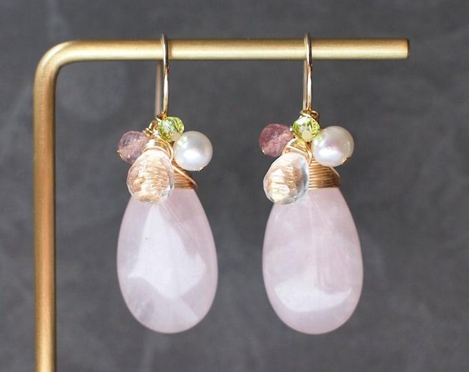 Rose Quartz Earrings // Statement Earrings // 14K Gold-filled // Wire-wrapped // Elegant & Gorgeous