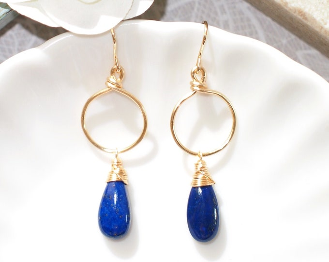 Lapis Lazuli Earrings // 14K Gold-filled // Dangling Style // Wire-wrapped // Sleek & Chic
