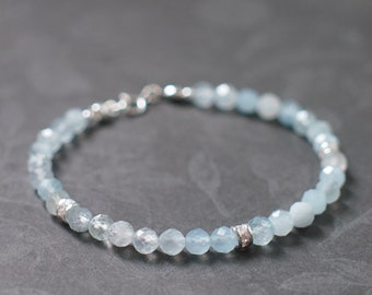 Aquamarine Bracelet // 925 Sterling Silver // Cute & Chic // Stackable