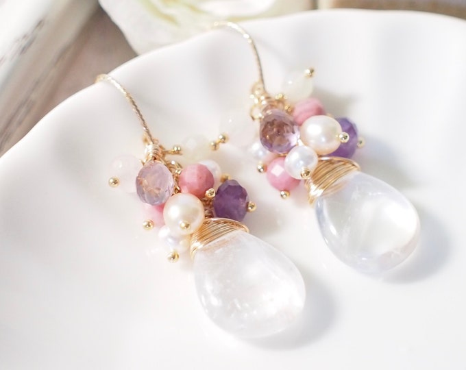 White Quartz Earrings // Assorted Gems Cluster // 14K Gold-filled // Wire-wrapped // Romantic & Chic