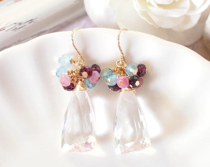 Natural Rock Crystal Earrings // Gems Cluster // Topaz x Garnet x Tourmaline // 14K Gold-filled // Wire-wrapped // Romantic & Elegant