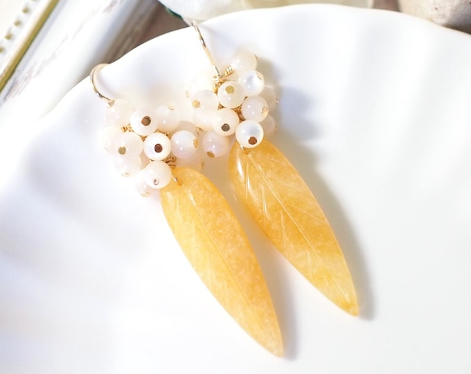 Yellow Jade Earrings // Mother-of-Pearl Cluster // 14K Gold-filled // One of a Kind // Stunning & Tasteful