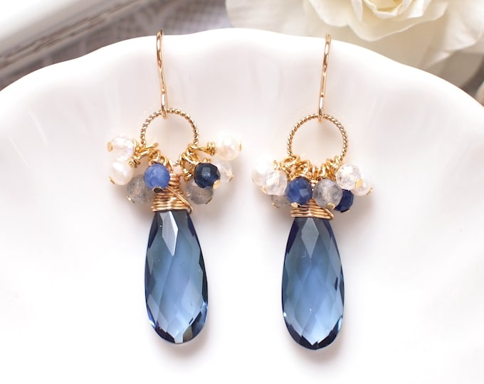 London Blue Quartz Earrings // Assorted Gems Cluster // 14K Gold-filled // Wire-wrapped // Elegant & Classy