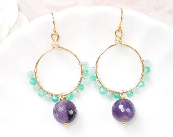 Amethyst Earrings // Chalcedony x Quartz // Hoop Earrings // Oriental Style // 14K Gold-filled