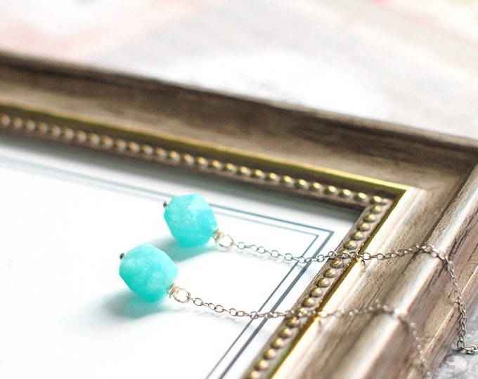 Amazonite Threader Earrings // Sleek & Chic // 925 Sterling Silver // Everyday Style