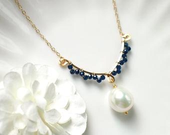 Baroque Pearls x Blue Quartz Earrings // 14K Gold-filled // Wire-wrapped // Precious & Elegant