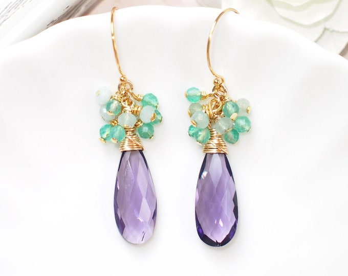 Amethyst Earrings // Gem Cluster // Chalcedony x Quartz // 14K Gold-filled // Wire-wrapped // Oriental Style