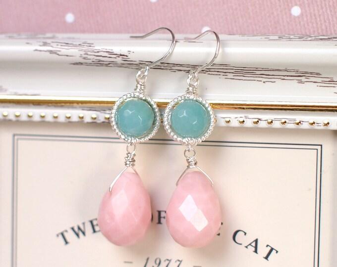 Pink Opal x Aventurine Earrings // Vintage Inspired // Sweet // 925 Sterling Silver