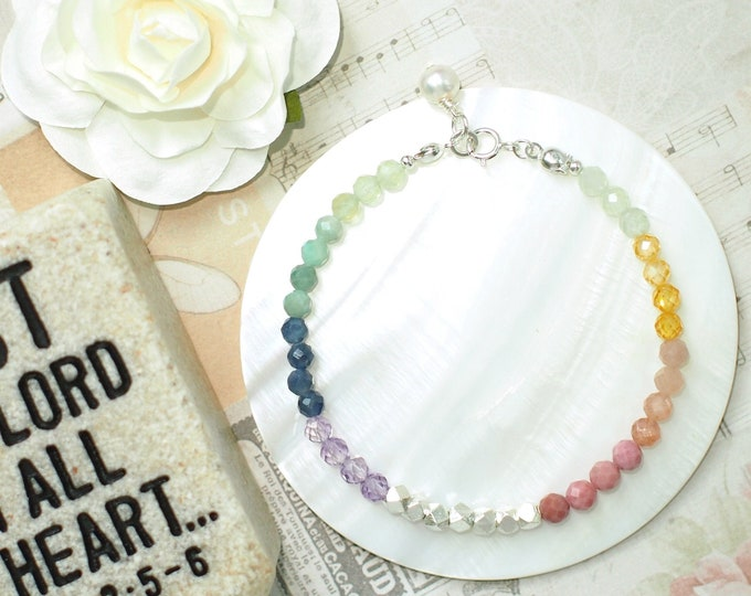 Rainbow Gems Bracelet // Transitioning Colour // Sweet & Chic // Stackable // 925 Sterling Silver