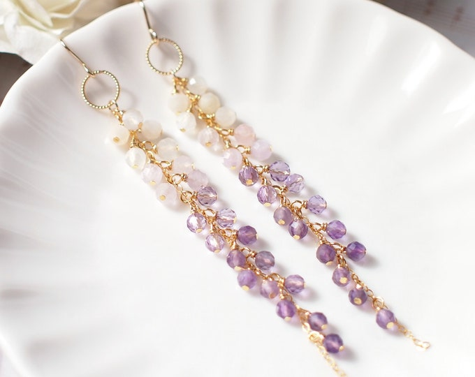 Amethyst x Moonstones Dangling Earrings // Sparkly & Precious // Ombre Colour // 14K Gold-filled // One of a Kind