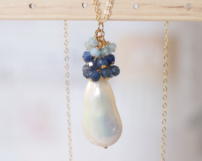 Baroque Pearl x Gem Cluster Pendant // Long Statement Necklace // Blue Sapphire x Aquamarine // One of a Kind // 14K Gold-filled